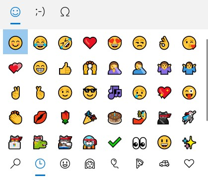 windows 10 emojileri