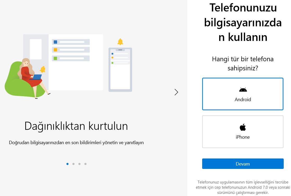 windows 10 telefon bağlamak