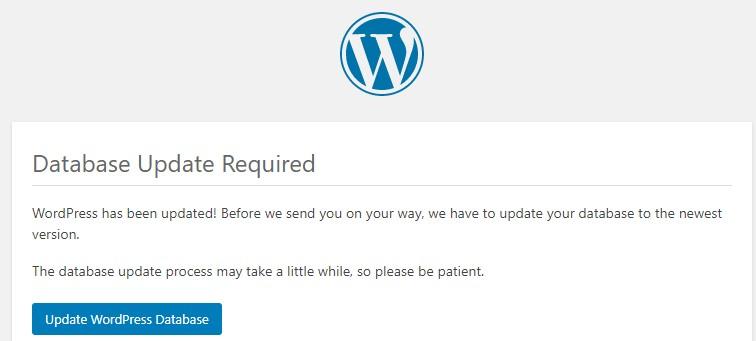 wordpress database update required