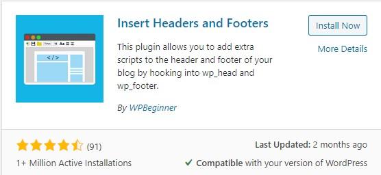 wordpress insert headers and footers