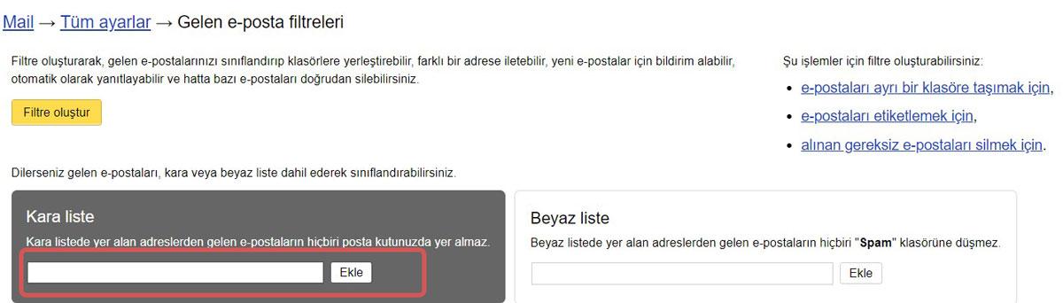 yandex mail kara liste