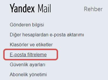 yandex mail mail filtreleme