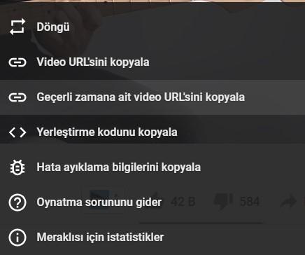 youtube geçerli zamana ait video url