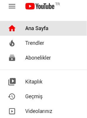 youtube menu