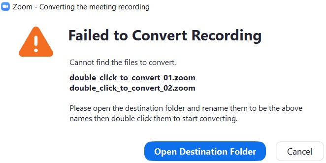 zoom failed to convert recording